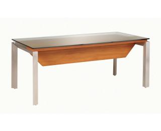 Bureau en verre, pieds métal avec voile de fond SLIVER, largeur : 190 - Finition noyer/taupe