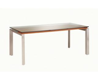 Bureau et verre, pieds métal sans voile de fond SLIVER, largeur : 190 cm - Finition noyer/taupe