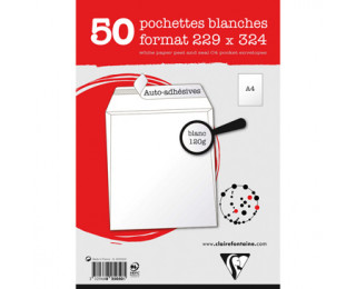 50 Pochettes - CLAIREFONTAINE - 229x324 Blanc - 120g - Adhéclair