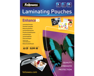 25 Pochettes de Plastification Brillantes FELLOWES A3 - 80 Microns