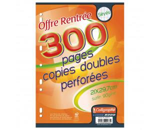 300 pages copies doubles A4 21x29,7 cm - CALLIGRAPHE - Grands carreaux