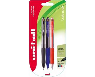 Lot de 3 stylos Laknock rétractables - UNI BALL - 3 couleurs