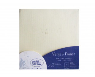 25 Cartes Vergé de France 135x135 mm 210g Ivoire