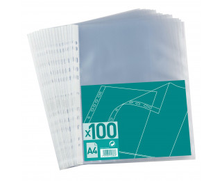 Lot de 100 pochettes perforées A4 - ELBA - Transparent