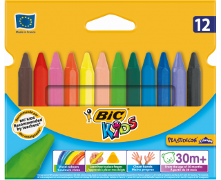 Pochette de 12 craies de coloriage Plastidécor - BIC Kids - Assortiment de couleurs