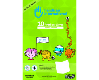 Lot de 10 feuilles couvre-livres - HANDICAP INTERNATIONAL - 70 cm x 5 m - Transparent