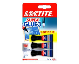Lot de 3 tubes de colle - SUPER GLUE - 1g - Permanent