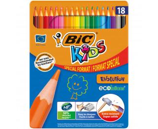Boîte en métal de 18 crayons de couleurs Kids Evolution - BIC - Format spécial
