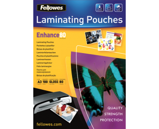 100 Pochettes de Plastification Brillantes FELLOWES A3 - 80 Microns