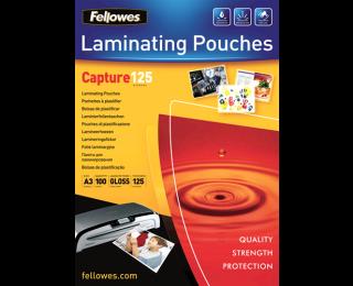 100 Pochettes de Plastification Brillantes FELLOWES A3 - 125 Microns