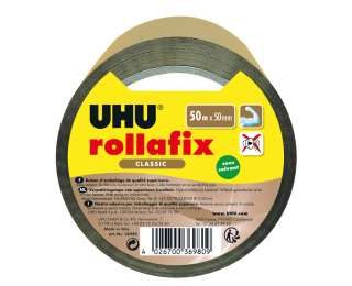 Rouleau adhésif d'emballage Rollafix - UHU - 50 mm x 50 m - Marron