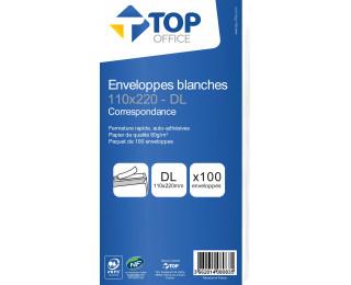 50 enveloppes blanches - TOP OFFICE - DL - 110x220 mm - Fermeture auto-adhésive - 90g