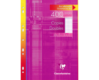 400 pages copies doubles A4 21x29,7 cm - CLAIREFONTAINE - Petits carreaux