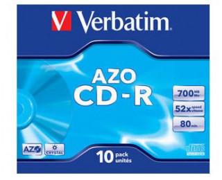 Pack 10 CD vierges Azo Crystal CD-R 48/ 52X - VERBATIM