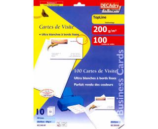 100 Cartes de visite DECADRY - bords lisses - 85 x 54 mm - Blanc