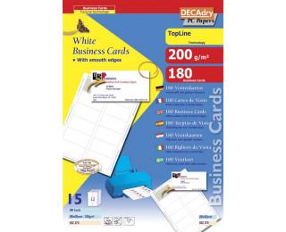 180 Cartes de visite - AGIPA - 85x45mm bords lisses - Blanc