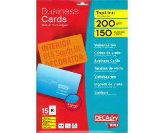 150 Cartes de visites DECADRY -  85x54mm bords lisses - Blanc