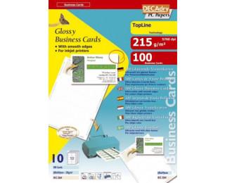 100 Cartes de visite brillant inkjet - AGIPA - 85x54mm - 215g - Blanc