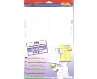100 Cartes de visite - AGIPA - 250g - 85 x 54 mm - Blanc