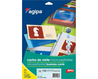 100 Cartes de visite DECADRY - 90X50mm - 200g - Blanc