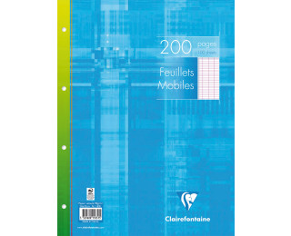 200 pages feuilles mobiles 24x32 cm - CLAIREFONTAINE - Grands carreaux