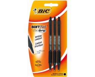 Lot de 3 stylos bille rétractables Soft Feel clic grip- BIC - Noir