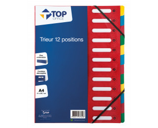 Trieur carton A4 - TOP OFFICE  - 12 compartiments - Rouge