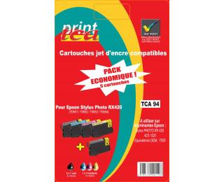 Pack économique 4 cartouches d'encre compatible EPSON T055 noire, cyan, magenta, jaune