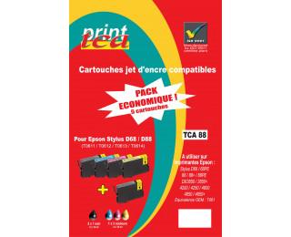 Pack économique 4 cartouches d'encre compatible EPSON T061 noire, cyan, magenta, jaune