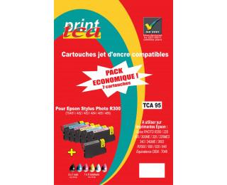 Pack économique 6 cartouches d'encre compatible EPSON T048 noire, cyan, magenta, jaune, cyan clair, magenta clair