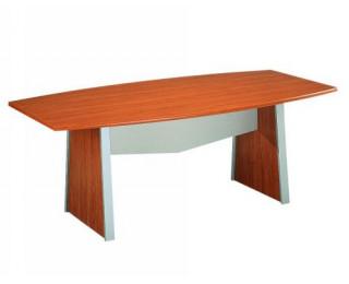 Table de réunion tonneau - MAMBO - Largeur 204 cm - Finition Poirier / Gris