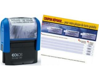 Tampon Printer 20  COLOP -  encrage automatique - 4 lignes de textes - Noir