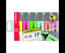 Lot de 6 surligneurs fluo - STABILO - 6 couleurs
