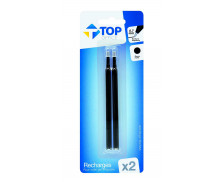 Lot de 2 recharges pour stylos roller - TOP OFFICE - Noir