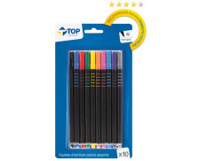 Lot de 10 feutres d'écriture - TOP OFFICE - Pointe fine - Assortiment de couleurs