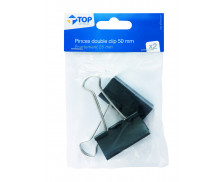 Lot 2 pinces double clips - TOP OFFICE - 50 mm