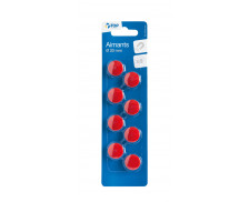 8 aimants rouges - TOP OFFICE - Diamètre 20 mm