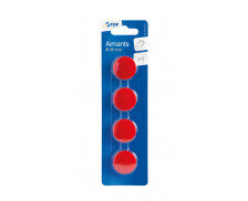4 aimants diamètre 30 mm - TOP OFFICE - Rouge