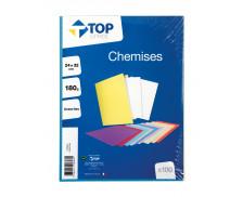 Lot de 100 chemises 24x32 cm - TOP OFFICE - 180G - Assortiment de couleurs