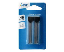 Lot de 2 étuis de 12 mines 0.5mm HB - TOP OFFICE