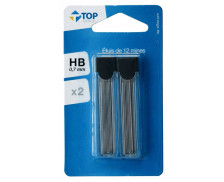 Lot de 2 étuis de 12 mines 0.7mm HB - TOP OFFICE