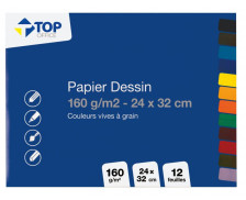 12 feuilles à dessin - TOP OFFICE - Couleurs vives - 160g