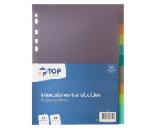 Intercalaires A4 - TOP OFFICE - 12 positions - Transparents