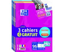 Lot de 4 cahiers Openflex - OXFORD - 96 pages - Grands carreaux Séyès - 24 x 32 cm