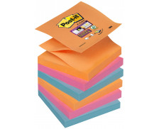 6 Blocs post-it Supersticky Z-note - POST IT - 76 x 76 mm - Coquelicot/vert/bleu