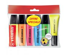 Ecopack 5 surligneurs Boss + 1 surligneur Néon offert - STABILO - Assortiment de couleurs