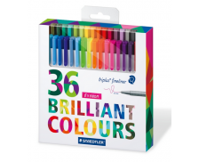 Lot de 36 feutres d'écriture Triplus Fineliner - STAEDTLER - Pointe fine - Assortiment de couleurs