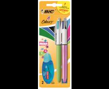 Lot de 2 stylos bille 4 couleurs Shine + 1 ruban correcteur offert - BIC