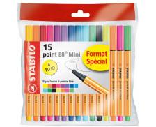 Lot de 15 mini feutres - STABILO - Point 88 - Assortis de couleurs
