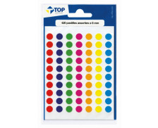 Etui de 420 pastilles diamètre 8 mm - TOP OFFICE - Coloris assortis